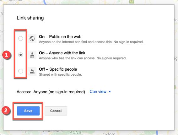 خيارات مشاركة الرابط لخريطة خرائط Google المخصصة