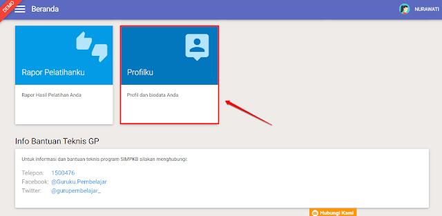Pilih modul menu Profilku