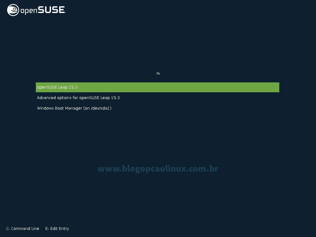 Tela de boot do GRUB após a instalação do openSUSE Leap