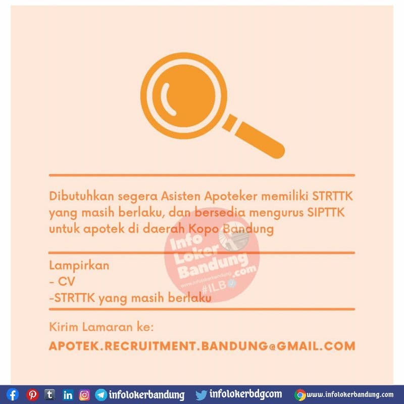 Lowongan Kerja Asisten Apoteker Bandung Juli 2021
