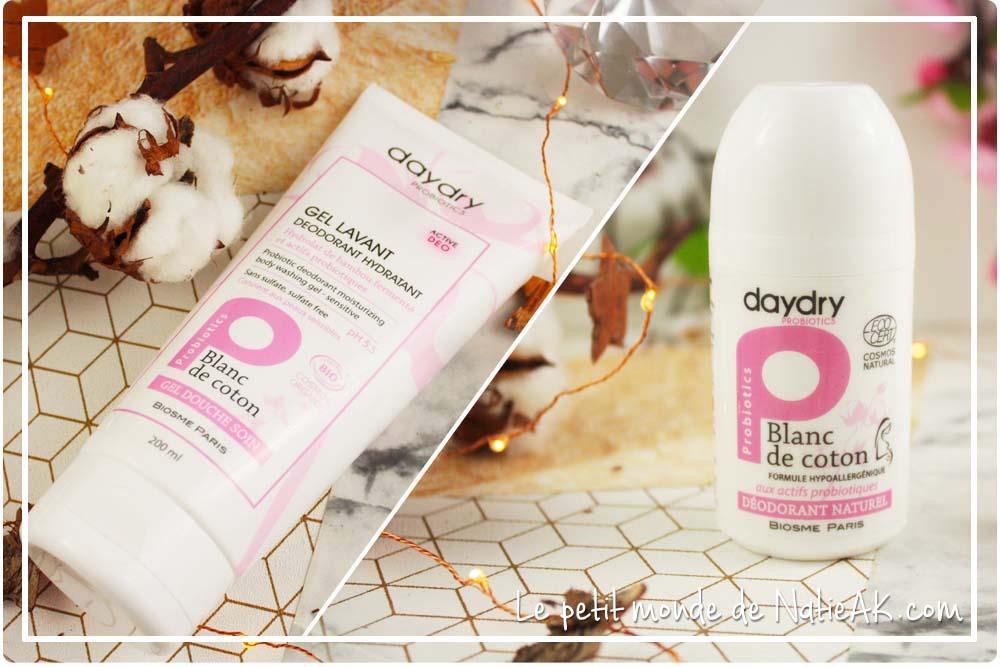 gel lavant déodorant et déodorant naturel bio aux probiotiques Daydry