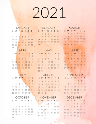 free 2021 one page printable calendars