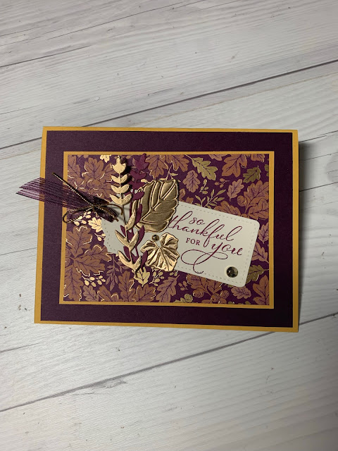 Fall-themed greeting card using Stampin' Up! Blackberry Beauty Suite