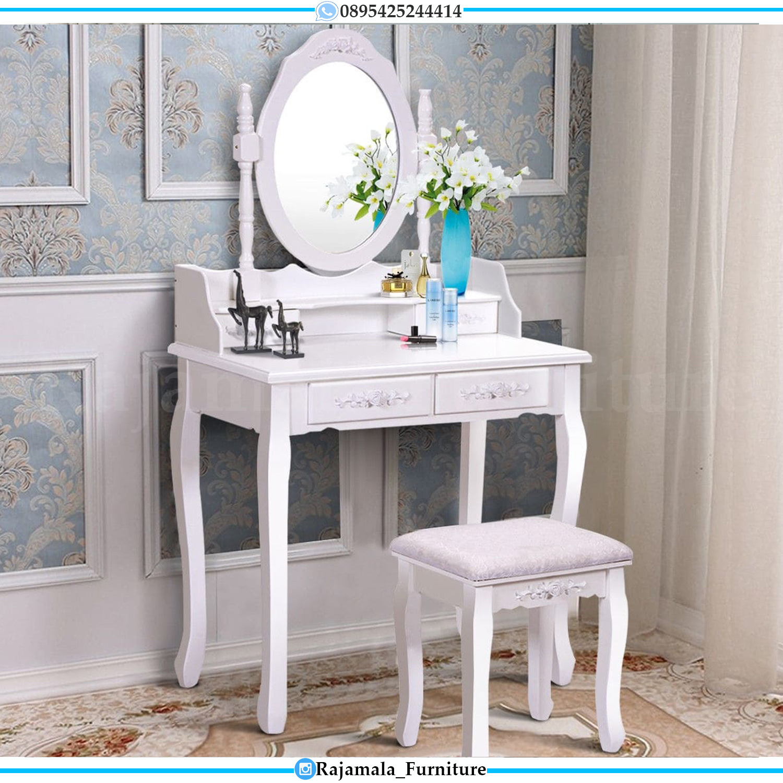 Meja Rias Minimalis Putih Duco Luxury Carving Furniture Jepara RM-0168