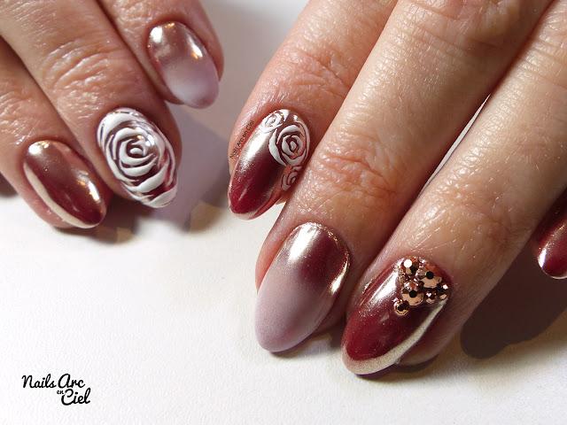 Nail Art - Rose Gold Baby Boomer et roses en gel 3D par Nails Arc en Ciel