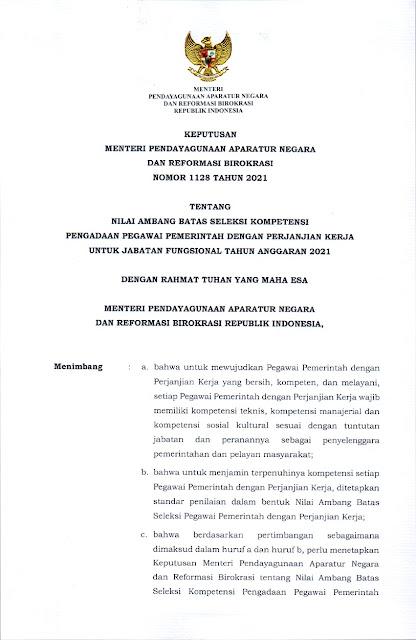 KEPMENPANRB Nomor 1128 Tahun 2021 Halaman 1