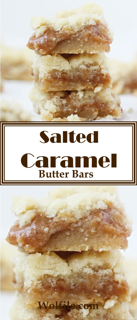 Salted Caramel Butter Bars #Caramel #Cookies