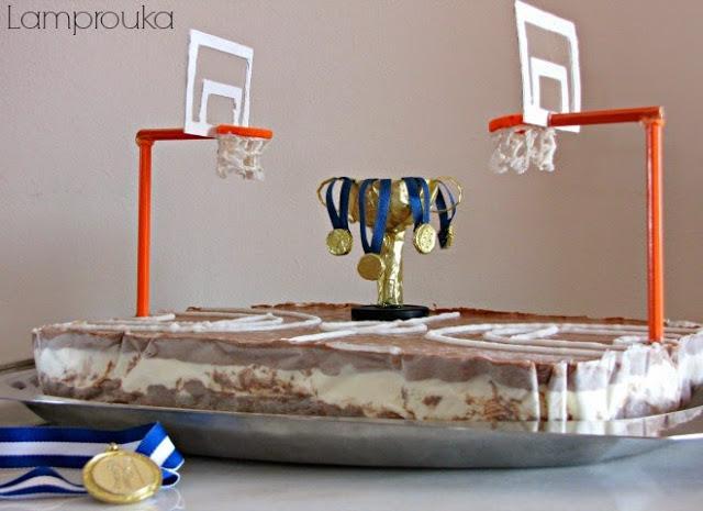τούρτα-παγωτό μπάσκετ