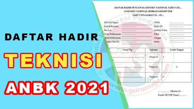 Daftar Hadir Teknisi ANBK / AKM 2021 Format Word