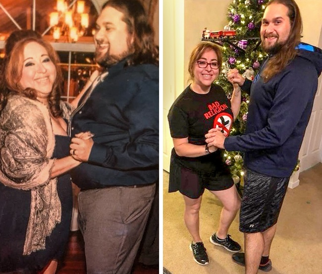 21 Before And After Photos Of People Who Managed To Lose Weight and Begin A Brand New Life - One more couple proved that love is the best motivation the two combined lost a total of 170lb.