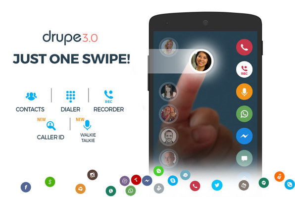 Contacts, Phone Dialer, and Caller ID: drupe