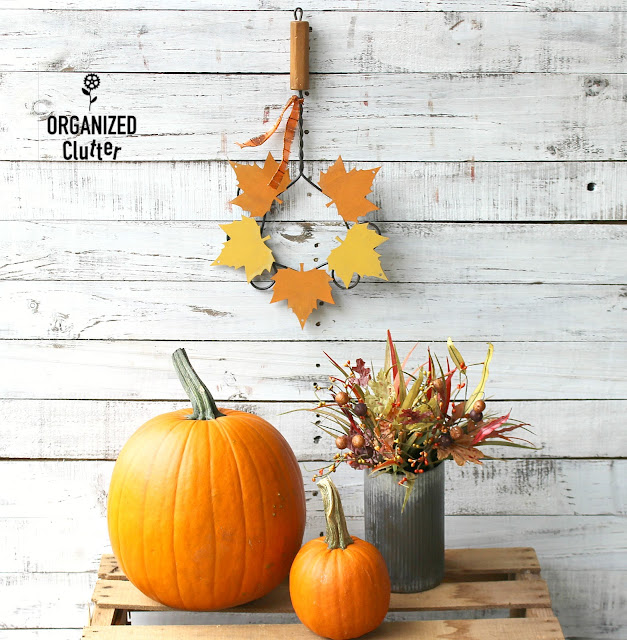 DIY Rug Beater & Dollar Tree Wooden Leaf Wreath #repurpose #upcycle #fall #autumn