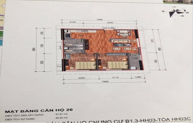 Sơ đồ thiết kế căn hộ 20 chung cư B1.3 HH03C Thanh Hà Cienco 5