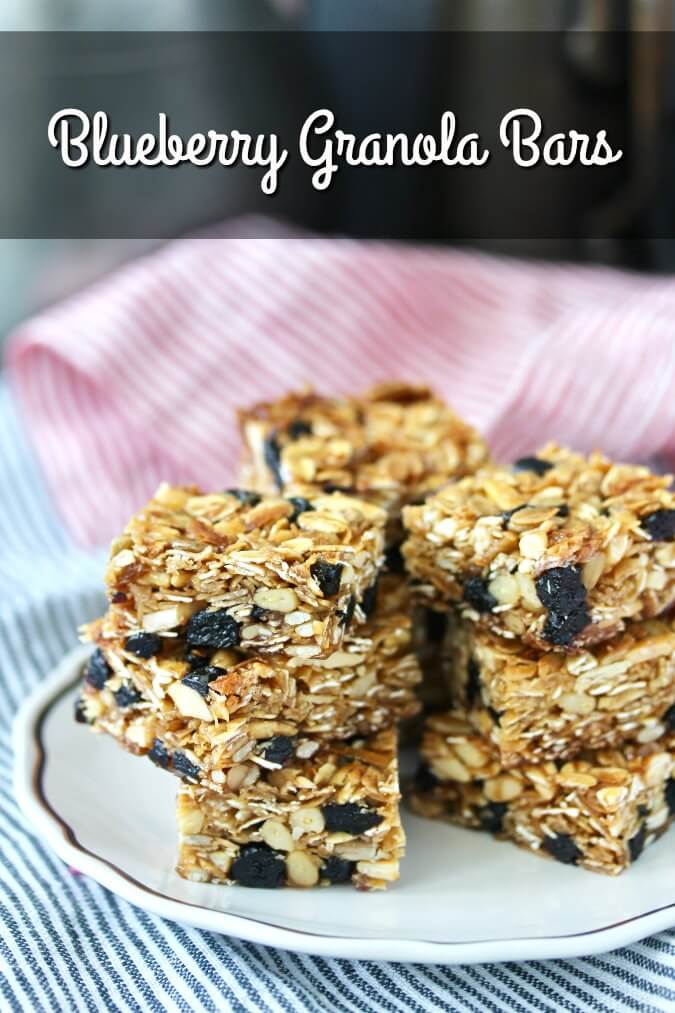 Blueberry Granola Bars with toasted oats, coconut, almonds, sunflower seeds, and pine nuts