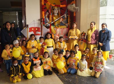 Students during Basant Panchami celebrations