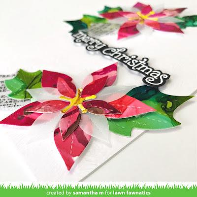 Poinsettia Card by Samantha Mann, Lawn Fawn, Lawn Fawnatics, Christmas, Christmas Card, Die Cuts, Alcohol Inks #lawnfawn #lawnfawnatics #alcoholink #diecuts #christmas #christmascard