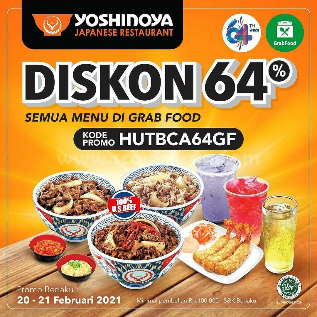 YOSHINOYA Promo HUT BCA 64! DISKON 60% Semua Menu di GRABFOOD