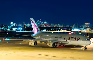 Source: Qatar Airways. Qatar Airways' A380 aircraft makes its Australian  debut in Sydney.