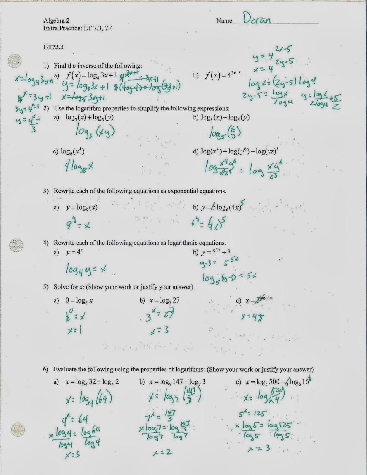 Algebra 2 And Trig Test 1 Answer Key