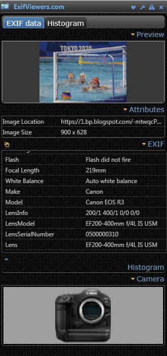EXIF показывает параметры съемки на Canon EOS R3