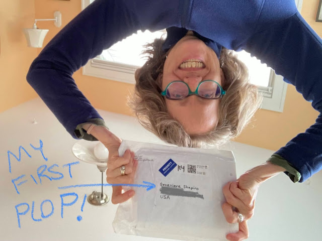 This is a photograph of the artist holding up the envelope in which her comic book came from Germany