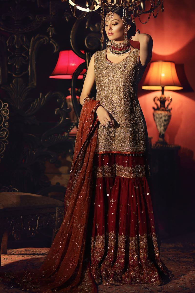 Golden tissue shirt with red gharara