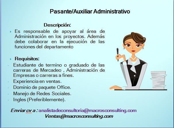 Vacante Para Pasante Auxiliar Administrativo Ayuda
