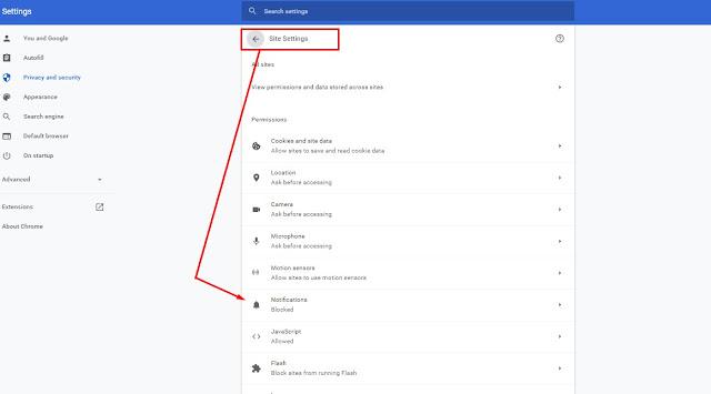Bagian Site Settings Google Chrome untuk menghilangkan iklan google chrome