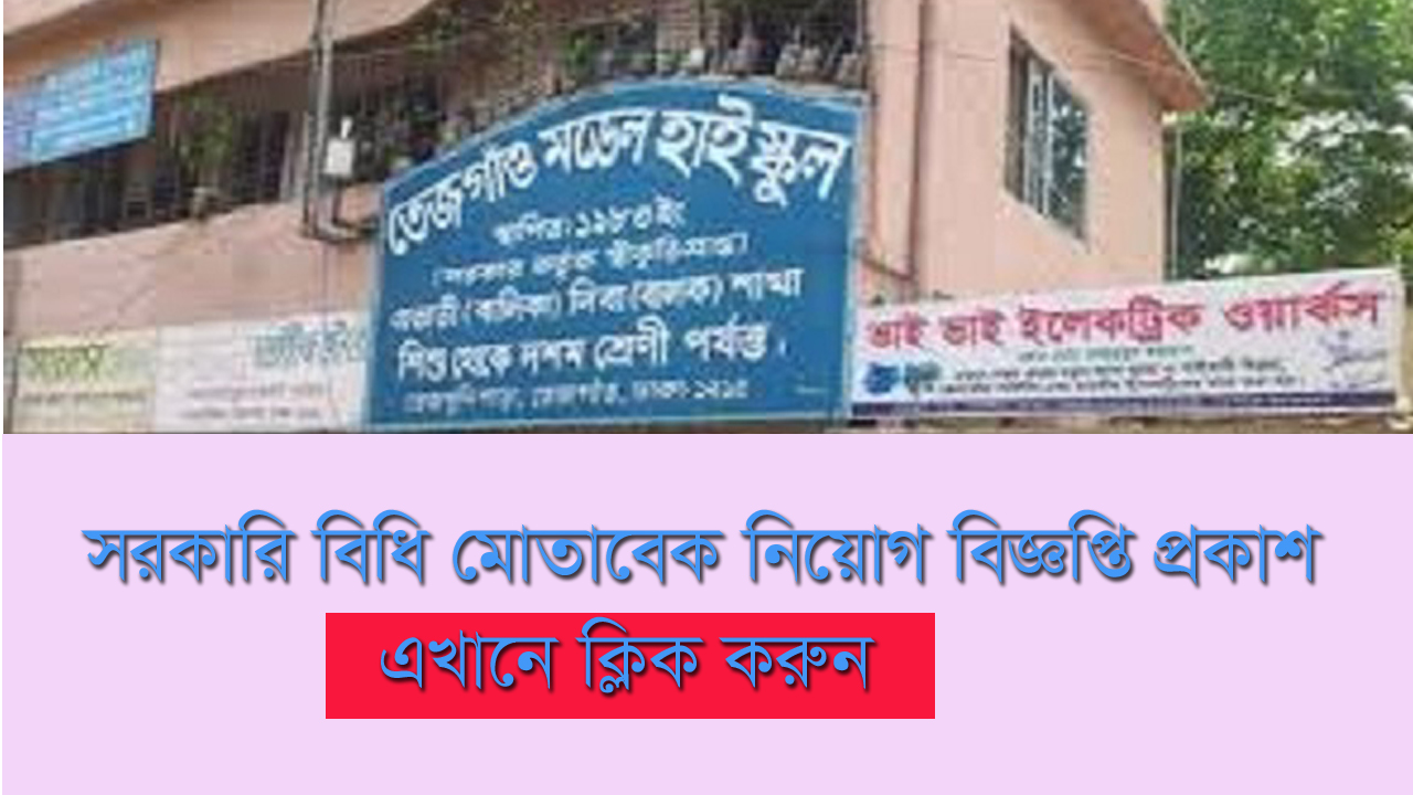 Tejgaon Model High School Job Circular 2019