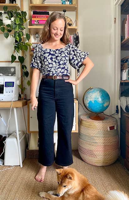 Diary of a Chain Stitcher: Stitch Witch Patterns Tudor Blouse in Floral Rayon Challis from The Fabric Store with Megan Nielsen Dawn Jeans