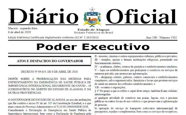 Em Alagoas, novo decreto prorroga medidas de isolamento social para conter avanço do coronavírus