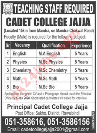 Pak Army Cadet College Jobs For Teachers in Rawalpindi 2020 (28 Dec 2019)