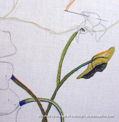 Catherine Laurencon Capucines (Inspirations): needlepainted embroidered nasturtium small leaf