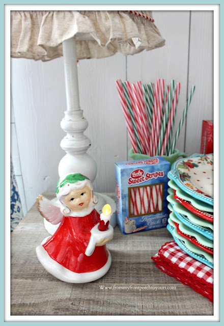 Breakfast -Nook -Christmas- Decor-Vintage-Christmas-Cottage Style-Farmhouse Style-Angel-From My Front Porch To Yours