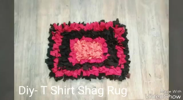 Simple Method To Make Shaggy Floor Mat From Recycled Shirt.. You Can Make  In Different Colours And Designs. Materials Old T Shirt Ruler Thick Fabric