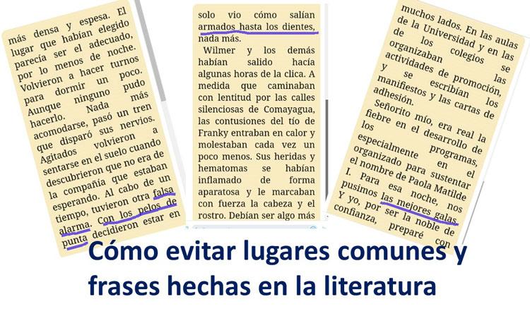 Lugares comunes en la literatura y frases hechas.