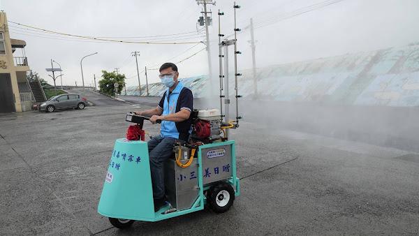 企業捐贈防疫物資及噴霧車 鹿港鎮消毒防疫添利器