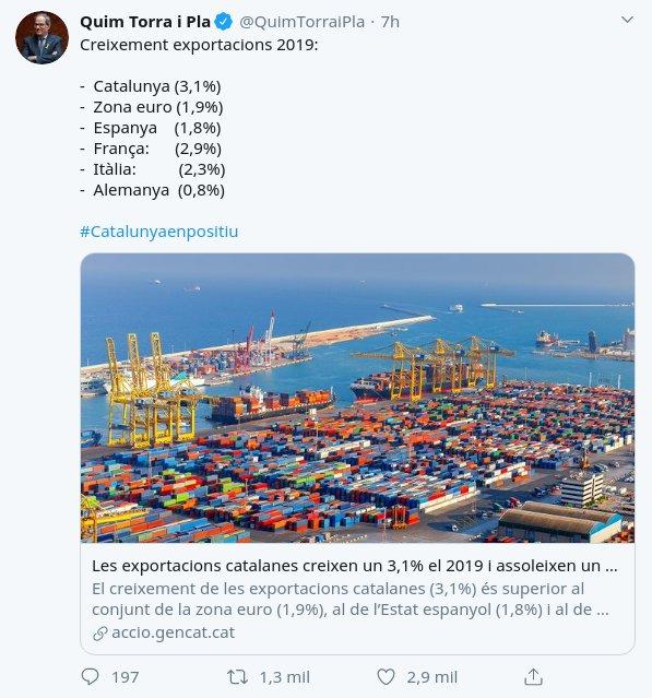 """Lo que no cuenta Torra es que la mayoría de esas """"exportaciones"""" son a España (ellos suman así)"""