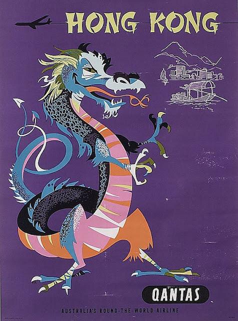 Quantas - HongKong Vintage Travel Poster