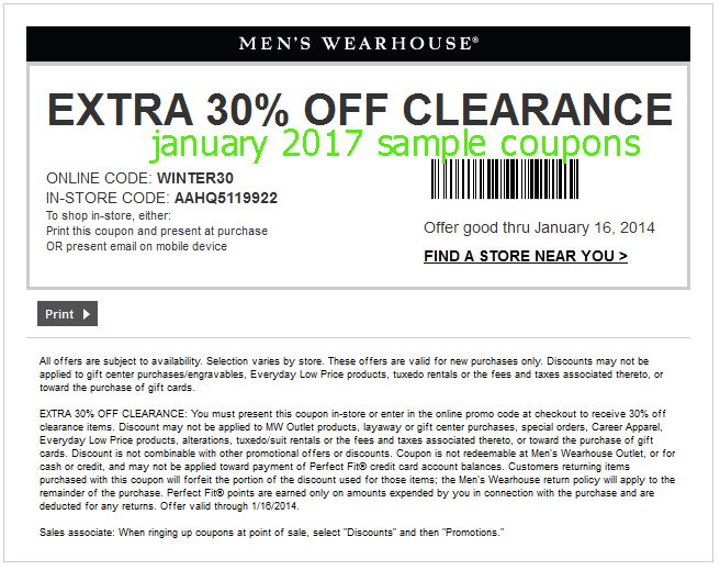 Browse for Men's Wearhouse coupons valid through December below. Find the latest Men's Wearhouse coupon codes, online promotional codes, and the overall best coupons posted by our team of experts to save you 50% off at Men's Wearhouse.