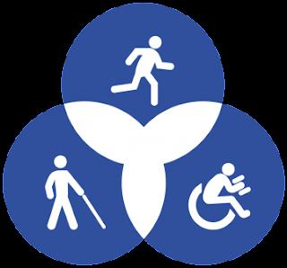 Diagrama de Venn con tres imagenes de personas con diversas discapacidades