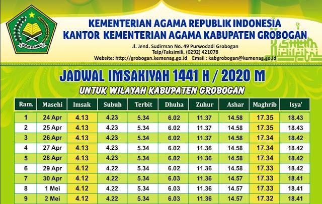 Jadwal Imsakiyah Ramadan 1441 H / 2020 Masehi Kabupaten Grobogan