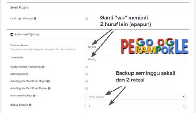 Setting nama db wordpress