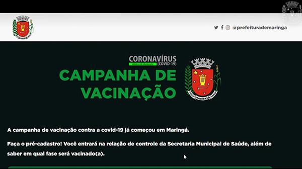 Pré-cadastro para ser vacinado contra covid-19 deve ser feito no site da Prefeitura de Maringá