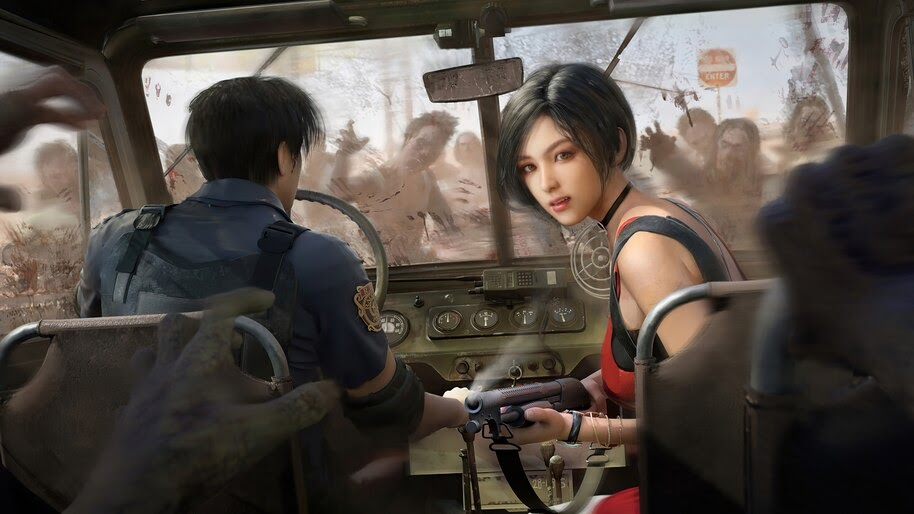 Ada Wong, Leon S. Kennedy, Zombies, Resident Evil 2 Remake, 4K, #3.2786