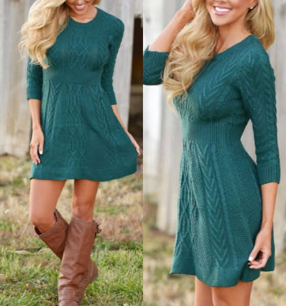 Long Sleeve Crew Neck Sweater Dress