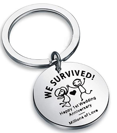 funny keychain first anniversary gift