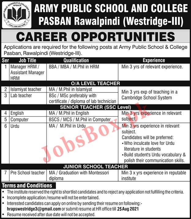 Army Public School and College Rawalpindi Jobs 2021 in Pakistan