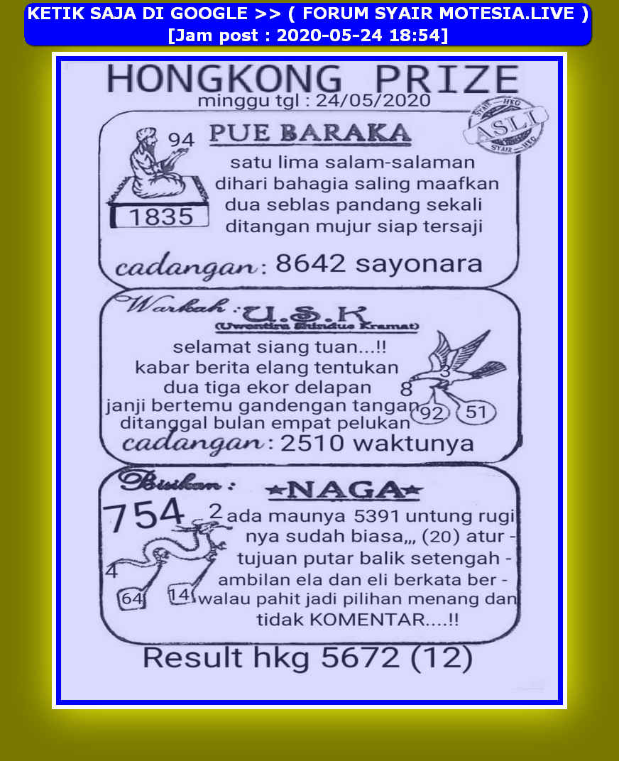 Kode syair Hongkong Minggu 24 Mei 2020 25