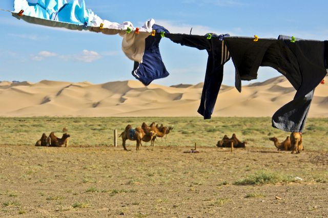 Clothes drying at Khongoryn Els sand dunes, Gobi Desert